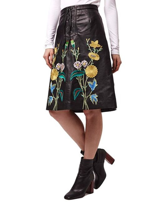 topshop embroidered leather skirt in black lyst