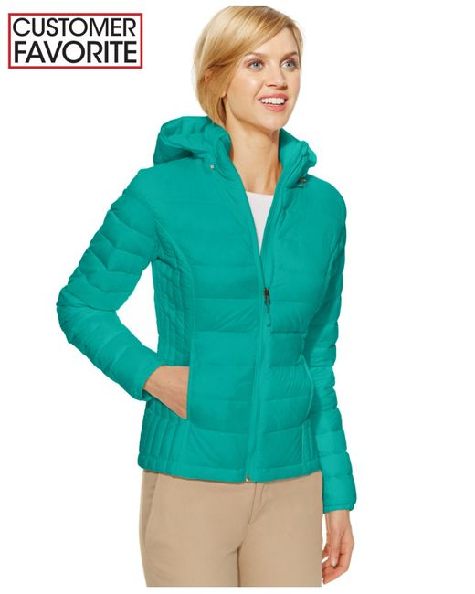 32 Degrees Hooded Packable Down Puffer Jacket In Green