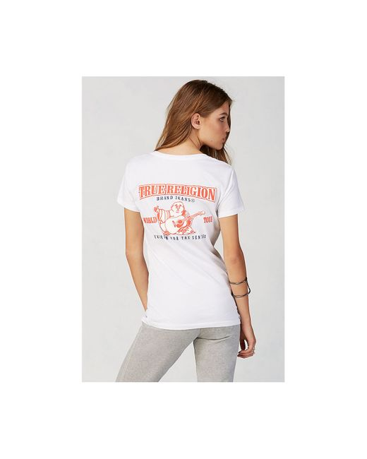 True Religion | White Double Puff Logo Womens Tee | Lyst