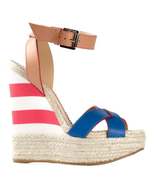 dsquared 178 striped wedge sandals in blue