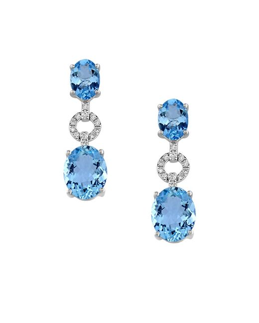 Effy | Blue Aquarius Diamond, Aquamarine And 14k White Gold Earrings | Lyst