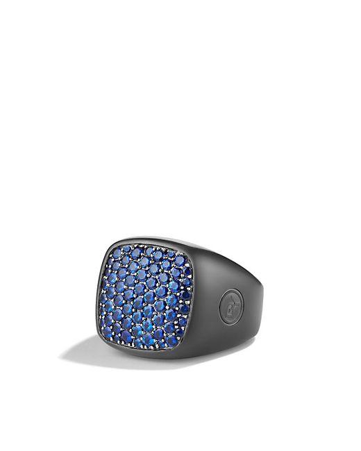 David Yurman | Pavé Signet Ring With Blue Sapphires And Black Titanium for Men | Lyst
