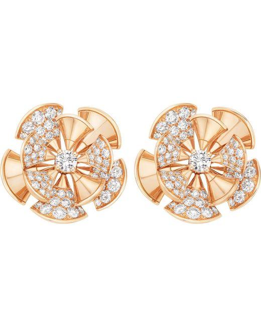 BVLGARI | Divas' Dream 18kt Pink-gold And Diamond Earrings | Lyst