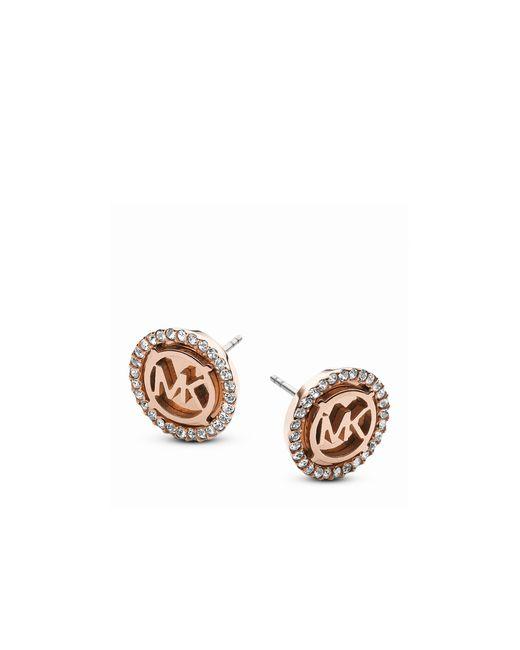 Michael Kors | Pink Pavé Mk Logo Stud Earrings | Lyst