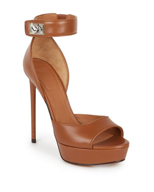 Givenchy | Brown Shark Lock Leather Platform Sandals | Lyst