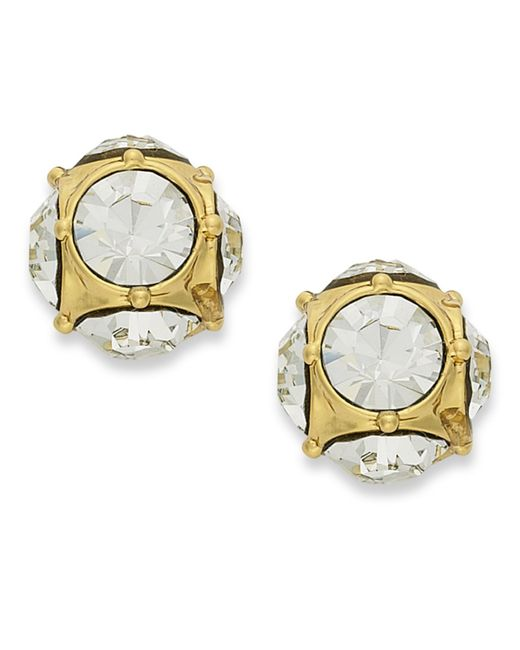 Kate Spade | Metallic 12k Gold-plated Crystal Stud Earrings | Lyst