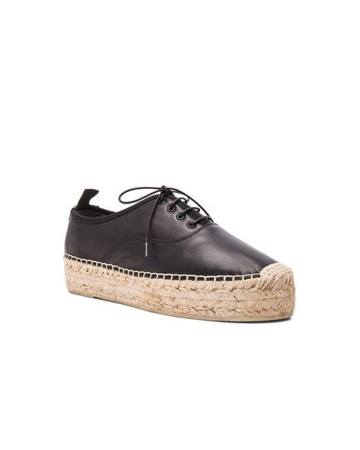 laurent matte leather espadrille shoes in black lyst
