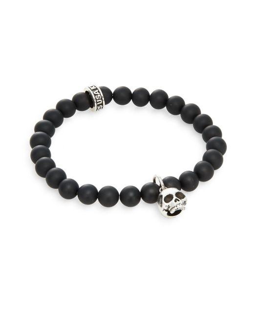 King Baby Studio | Black Onyx & Sterling Silver Beaded Skull Charm Bracelet for Men | Lyst