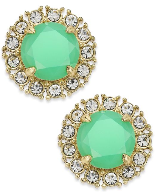 kate spade new york | Green Gold-tone Stud Earrings | Lyst