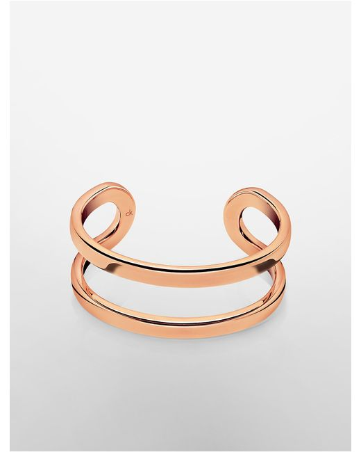 Calvin Klein | Pink Platinum Return Rose Gold Open Cuff | Lyst