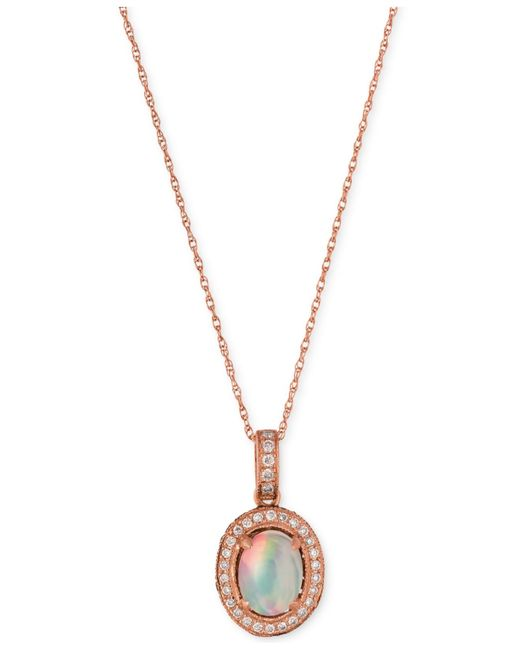 Le Vian | Pink Opal (2/3 Ct. T.w.) And Diamond (1/3 Ct. T.w.) Pendant Necklace In 14k Rose Gold | Lyst