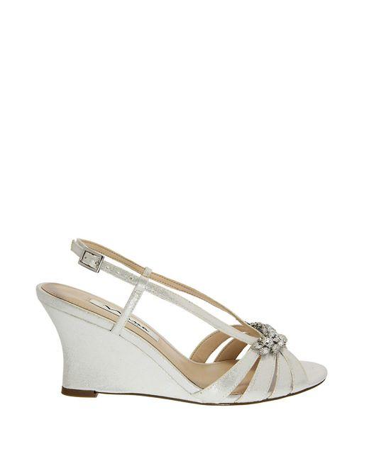 Nina Viani Wedge Sandals In Silver Lyst
