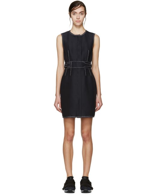 3 1 Phillip Lim Navy Contrast Stitching Dress In Blue