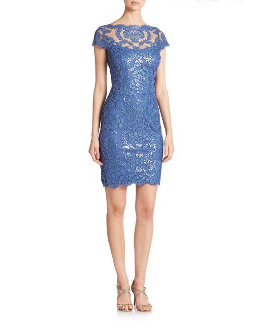 Tadashi Shoji | Blue Sequined Lace Sheath Dress | Lyst