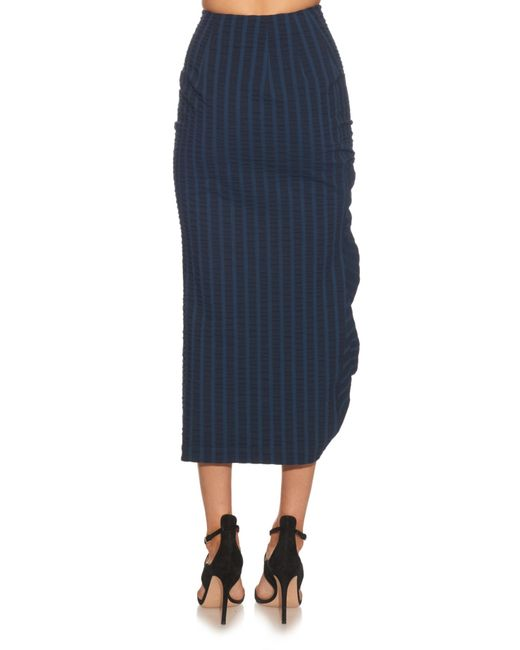 awake striped ruched midi skirt in blue blue multi lyst
