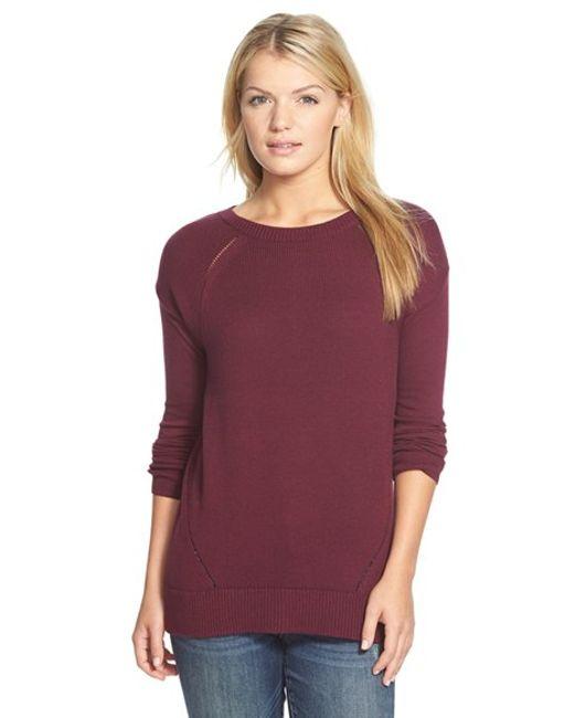 Caslon | Purple Pointelle Detail Button Back Tunic Sweater | Lyst