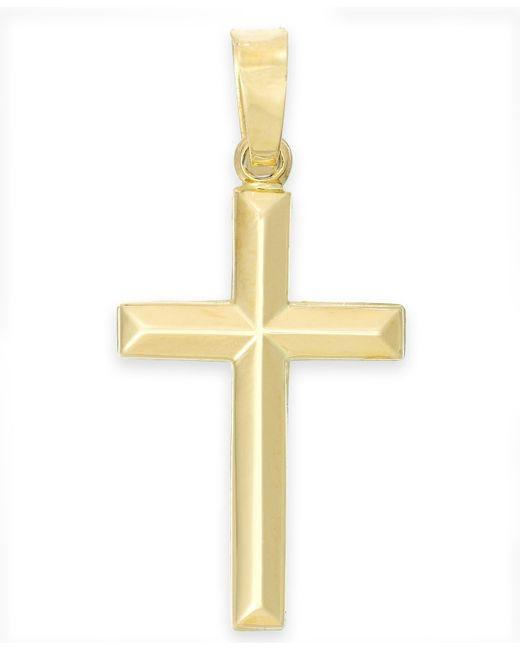 Macy's | Metallic Tube Cross Pendant In 14k Gold | Lyst