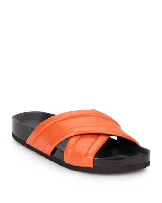 VINCE | Red Orson Crossover Leather Sandals | Lyst