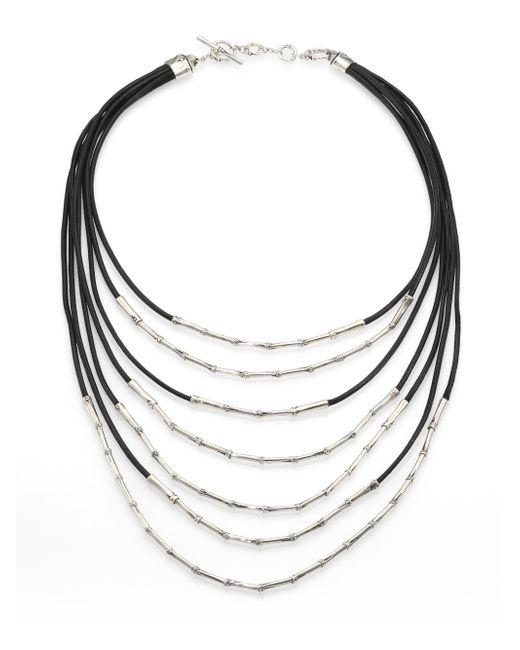 John Hardy | Metallic Bamboo Sterling Silver & Black Cord Multi-strand Necklace | Lyst