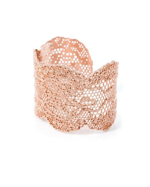 Aurelie Bidermann | Pink Rose Gold-Plated Lace Cuff | Lyst