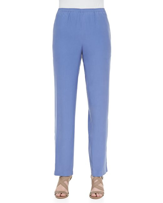 Go> By Go Silk   Blue Solid Silk Pants   Lyst