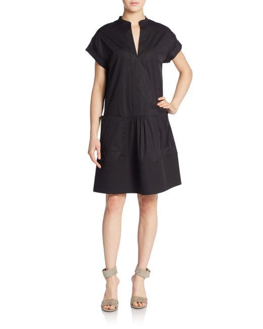 VINCE | Black Drop-waist Shift Dress | Lyst