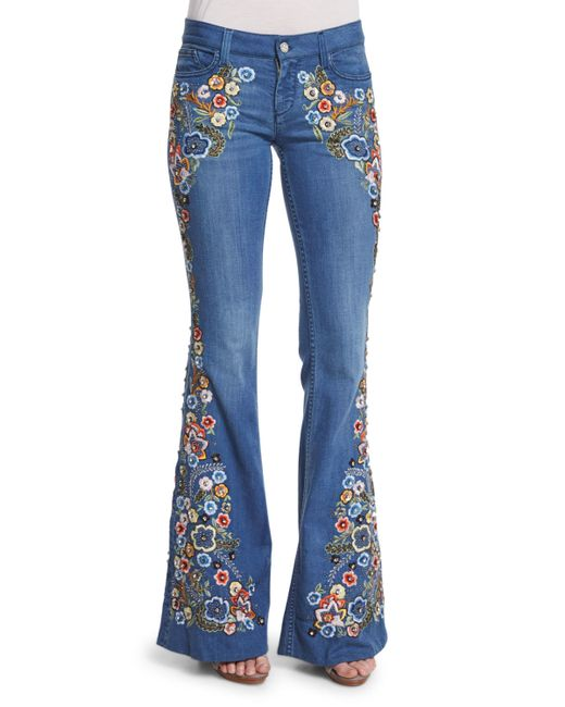 Innovative FERZIGE Jeans Women High Waist Blue Manual Embroidered Flares Pants Hand Beads Bell Bottom ...