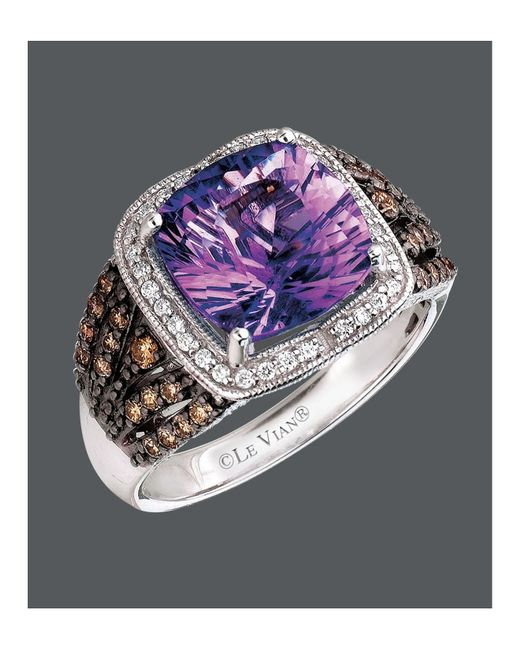Le Vian | Brown Amethyst (3-1/2 Ct. Chocolate Diamond (1/3 Ct. T.w.) And White Diamond (1/6 Ct. T.w.) Square In 14k White Gold | Lyst