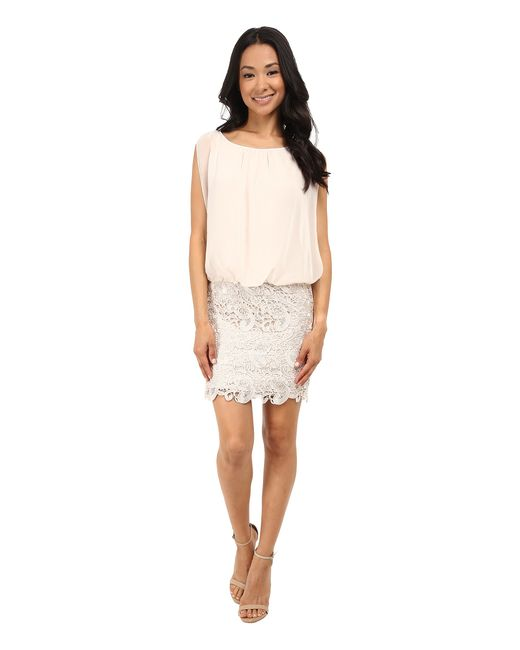 Aidan Mattox | Metallic Blousson Cocktail Dress With Lace Skirt | Lyst