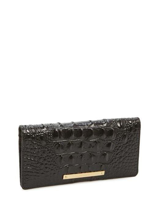 Brahmin | Black 'ady' Croc Embossed Continental Wallet | Lyst