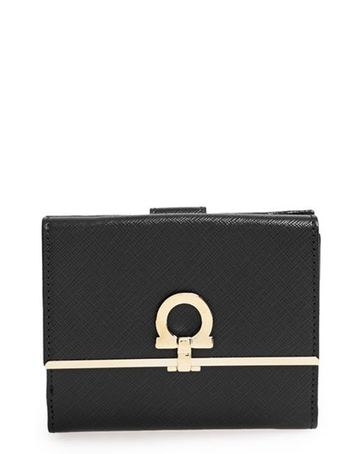 Ferragamo | Black 'french Icona' Saffiano Calfskin Leather Wallet | Lyst