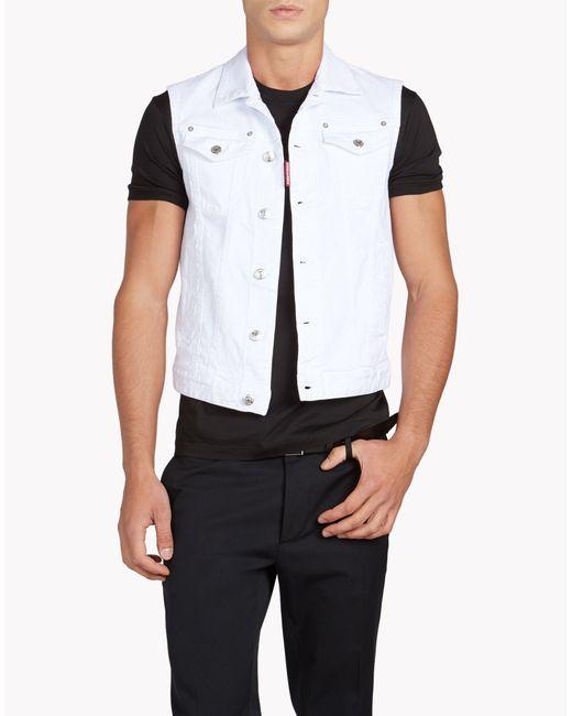 DSquared² | White Jean Vest for Men | Lyst