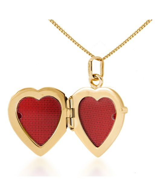 John Lewis | Red 9ct Gold Flower Heart Locket Pendant Necklace | Lyst