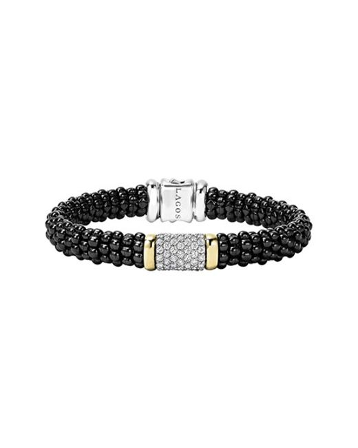 Lagos | 'black Caviar' Diamond Pave Rope Bracelet | Lyst