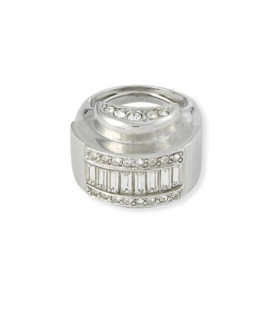 Kenneth Jay Lane | Metallic Crystal Domed Ring | Lyst