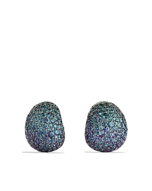 David Yurman | Pavé Earrings With Color Change Garnets In White Gold | Lyst