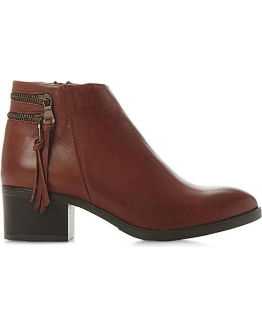 dune pipinn leather ankle boots in brown t a n l e a t