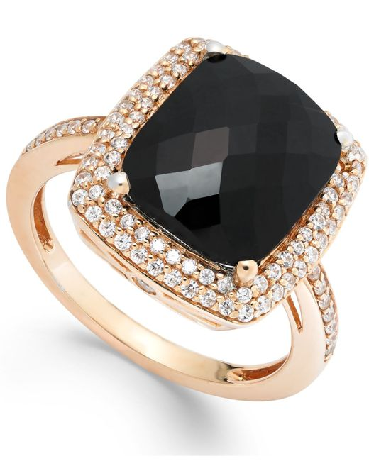 Macy's | Black Diamond (1/2 Ct. T.w.) And Onyx (1 Ct. T.w.) Ring In 14k Rose Gold | Lyst