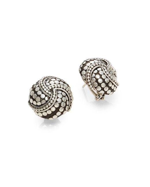 John Hardy   Metallic Dot Sterling Silver Button Earrings   Lyst