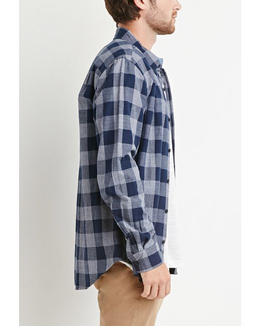 Forever 21 | Blue Chambray-trimmed Gingham Shirt for Men | Lyst