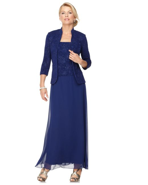 Alex Evenings | Blue Sparkled Jacquard Gown And Jacket | Lyst