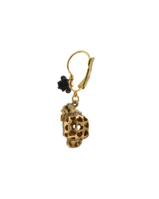 Betsey Johnson | Pink Betsey Vampire Crystal Skull Earrings | Lyst