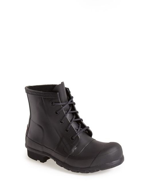 Hunter | Black 'original' Lace-up Rain Boot | Lyst