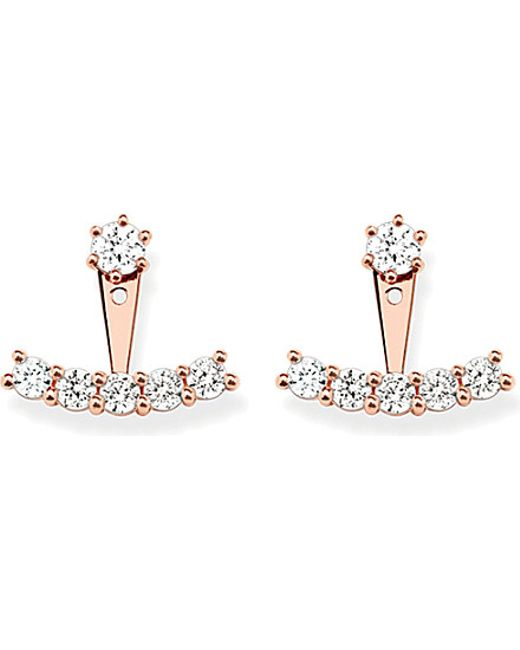 Thomas Sabo | Metallic Rose-gold Cubic Zirconia Ear Jackets | Lyst