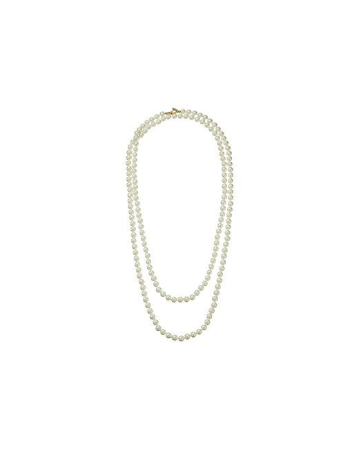 "Kenneth Jay Lane | White 60"" 8 Mm Cultura Pearl And Gold Toggle Clasp Necklace 
