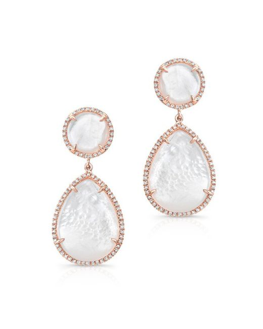 Anne Sisteron | Pink 14kt Rose Gold Mother Of Pearl Cloud Earrings | Lyst