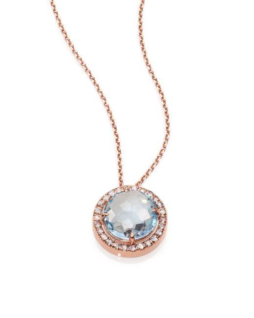 KALAN by Suzanne Kalan | Pink Blue Topaz, White Sapphire & 14k Rose Gold Round Pendant Necklace | Lyst