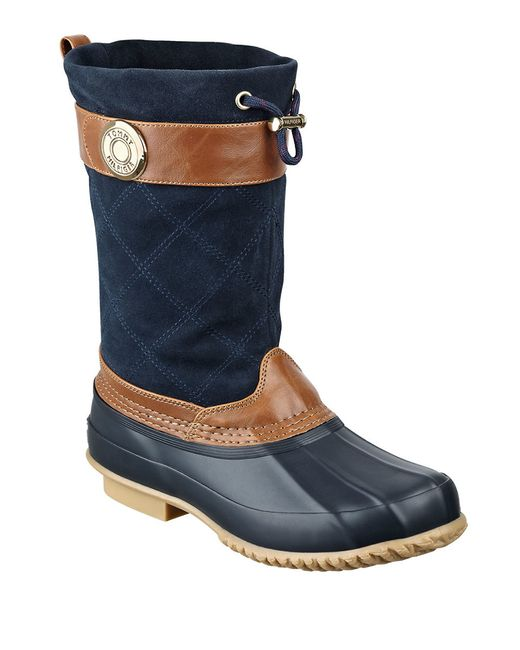 Tommy Hilfiger Arcadia Suede And Rubber Duck Boots In Blue
