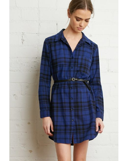 Forever 21 | Blue Belted Plaid Shirt Dress | Lyst