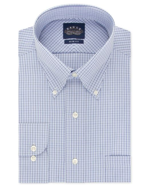 Eagle slim fit non iron blue check dress shirt in blue for for No iron slim fit dress shirts
